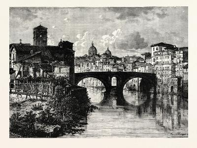 The Island in the Tiber and Bridge of Quattro Capt. Rome Italy--Giclee Print