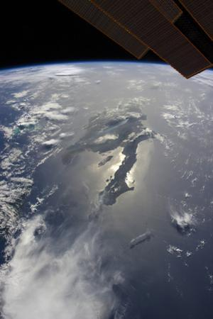 The Island of Hispaniola with Sunglint Illuminating the Peninsula of Haiti