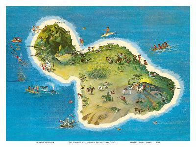 The Island of Maui Hawaii-Ray Lanterman-Art Print