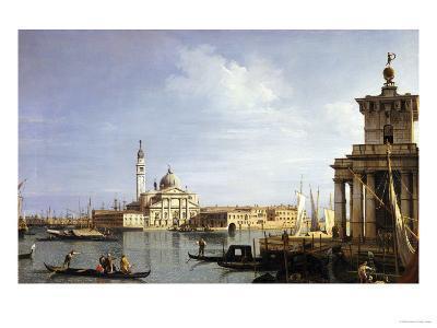 The Island of San Giorgio Maggiore, Venice with the Punta Della Dogana and Numerous Vessels-Canaletto-Giclee Print