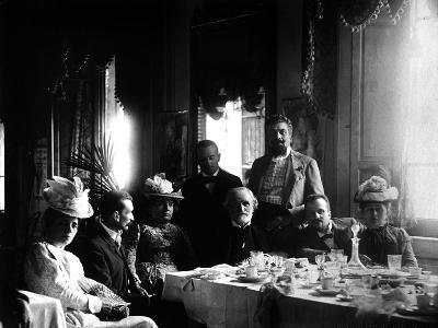 The Italian Composer Giuseppe Verdi Surrounded by His Friends--Photographic Print