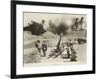 The Italians Shooting at the Turkish Army Throught 210 MM Mortars--Framed Giclee Print