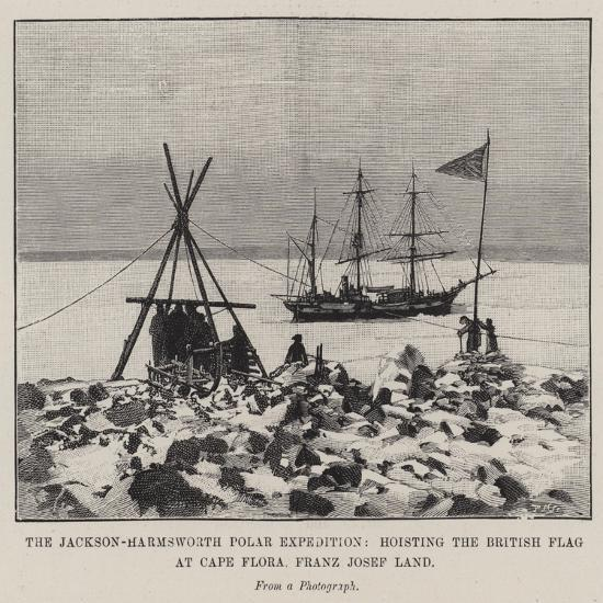 The Jackson-Harmsworth Polar Expedition, Hoisting the British Flag at Cape Flora, Franz Josef Land--Giclee Print