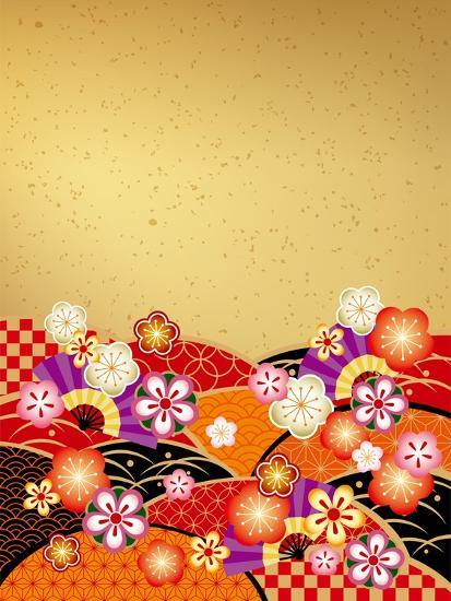 The Japanese Style Background of the New Year of Japan- ririe-Art Print
