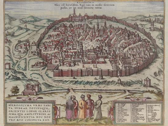 The Jerusalem Map (From: Jansson, Jan. Illustriorum Hispaniae Urbium Tabulae, Amsterdam, 165), 1657-Frans Hogenberg-Giclee Print