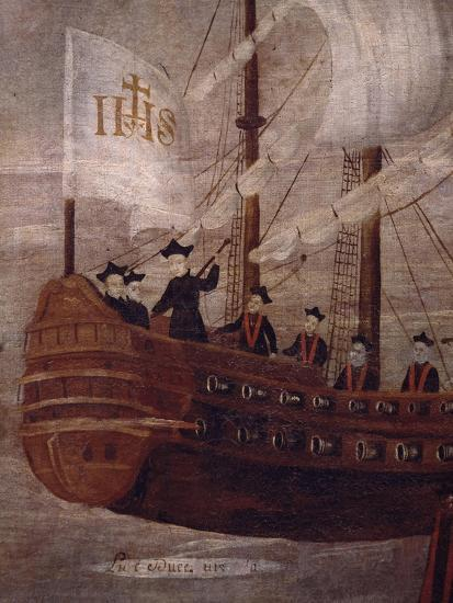 The Jesuits Arriving by Ship Off the Coast of New Granada, Painting 18th Century--Giclee Print