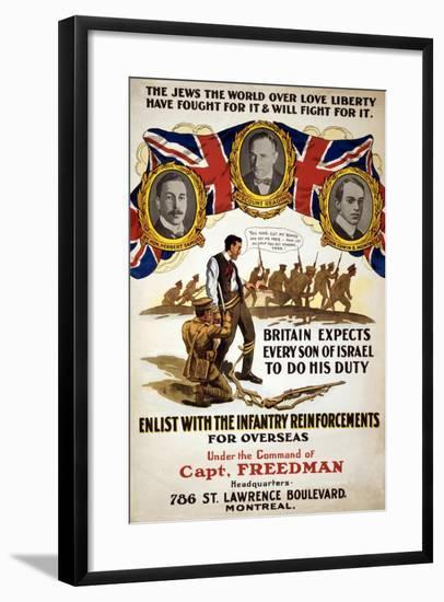The Jews the World over Love Liberty, 1914-18--Framed Giclee Print