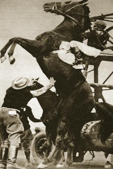 The Jockey Herbert Loses Control of His Horse at the Start of a Race in New York--Stretched Canvas Print