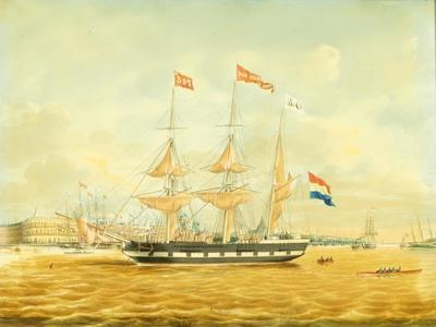 The Johan Melchior Kemper at Anchor by Rotterdam Harbour (Pencil, Pen and Ink and W/C on Paper)-Jacob Spin-Giclee Print