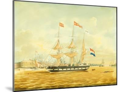 The Johan Melchior Kemper at Anchor by Rotterdam Harbour (Pencil, Pen and Ink and W/C on Paper)-Jacob Spin-Mounted Giclee Print