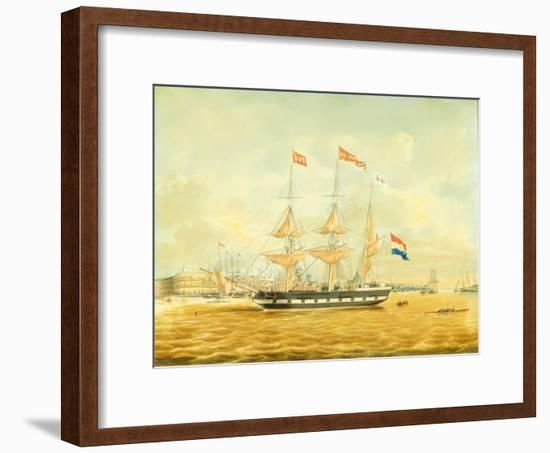 The Johan Melchior Kemper at Anchor by Rotterdam Harbour (Pencil, Pen and Ink and W/C on Paper)-Jacob Spin-Framed Giclee Print