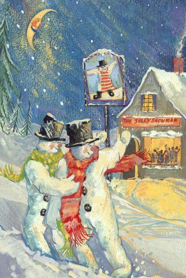 The Jolly Snowman-David Cooke-Giclee Print