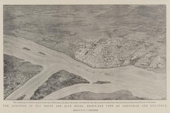 The Junction of the White and Blue Niles, Bird'S-Eye View of Omdurman and Khartoum--Giclee Print