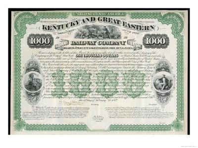 The Kentucky and Great Eastern Railway Company Gold Bond Share Certificate--Giclee Print