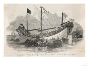 """The """"Key-Ing"""" the First Chinese Junk to Visit Europe Docked in the Thames"""