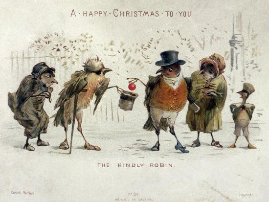 The Kindly Robin, Victorian Christmas Card- Castell Brothers-Giclee Print
