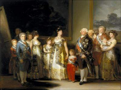 The King and Queen of Spain, Charles IV and Maria Luisa, with Their Family, 1800-Francisco de Goya-Giclee Print