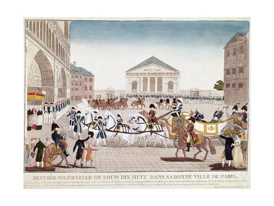 The King Louis XVIII Arriving at Notre Dame, Paris, 3 May 1814--Giclee Print