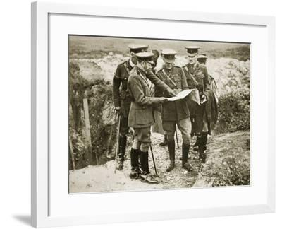 The King on a Battlefield with Sir Henry Rawlinson and General Congreve, 1916--Framed Photographic Print