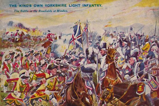 'The King's Own Yorkshire Light Infantry. The Battle in the Rosefields at Minden', 1759, (1939)-Unknown-Giclee Print