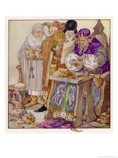 The King was in His Counting- House Counting out His Money-Anne Anderson-Giclee Print