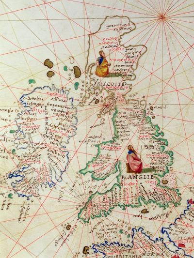 The Kingdoms of England and Scotland, from an Atlas of the World in 33 Maps, Venice-Battista Agnese-Giclee Print