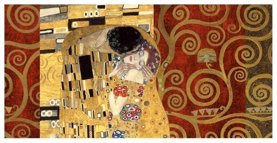 The Kiss (gold montage)-Gustav Klimt-Art Print