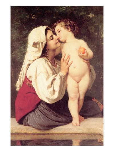 The Kiss-William Adolphe Bouguereau-Art Print