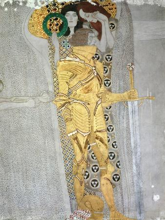 The Knight Detail of the Beethoven Frieze, Said to be a Portrait of Gustav Mahler (1860-1911), 1902-Gustav Klimt-Premium Giclee Print