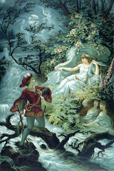 The Knight Hulbrand with Undine for the Tale 'Undine' by Baron De La Motte Fouque, 1909-Julius Hoeppner-Giclee Print