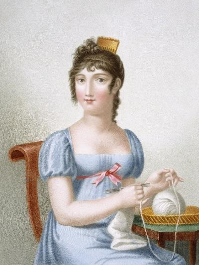 The Knitter, Engraved by Duthe, C.1816 (Coloured Engraving)-Madame G. Busset-Dubruste-Giclee Print