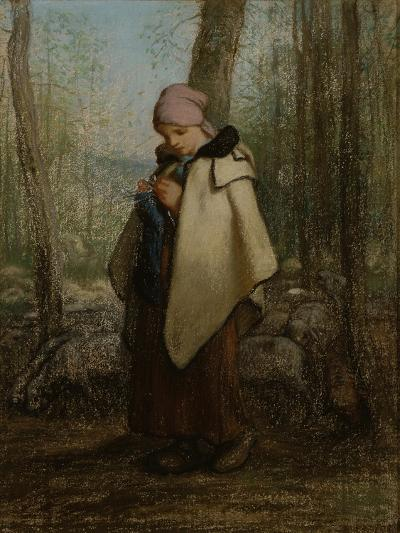 The Knitting Shepherdess, 1856-57-Jean-Francois Millet-Giclee Print