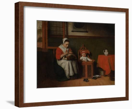 The Lacemaker, c.1656-Nicolaes Maes-Framed Giclee Print