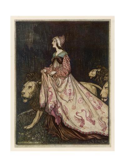 The Lady and the Lion-Arthur Rackham-Premium Giclee Print