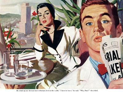 "The Lady and the Mug  - Saturday Evening Post ""Leading Ladies"", August 28, 1954 pg.31-Perry Peterson-Giclee Print"
