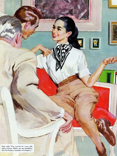 "The Lady Broke The Rules  - Saturday Evening Post ""Leading Ladies"", September 13, 1952 pg.23-Joe de Mers-Giclee Print"