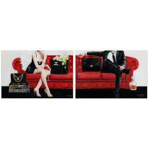 """""""The Lady & The Gentleman"""" Frameless Free Floating Tempered Glass Panel Graphic Wall Art"""