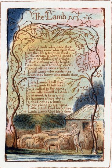 The Lamb, Illustration from 'Songs of Innocence and of Experience', C1770-1820-William Blake-Giclee Print