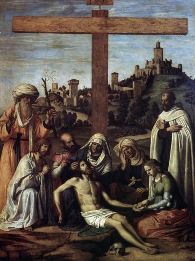 The Lamentation over Christ with a Carmelite Monk, C1510-Giovanni Battista Cima Da Conegliano-Giclee Print