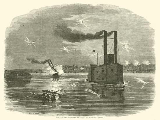 The Lancaster and Switzerland Running the Vicksburg Batteries, March 1863--Giclee Print