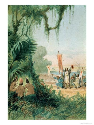 The Landing of Christopher Columbus on the Island of San Salvador on the 12th October 1492--Giclee Print