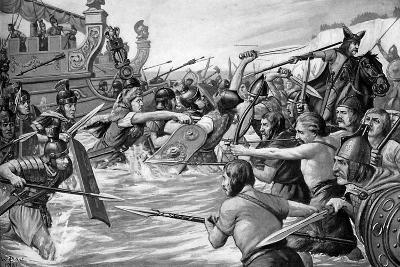 The Landing of Julius Caesar in Britain, 55 Bc, (C1920)-Richard Caton Woodville II-Giclee Print