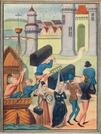 The landing of the Lady de Coucy at Boulogne, 1399 (1905)-Unknown-Giclee Print