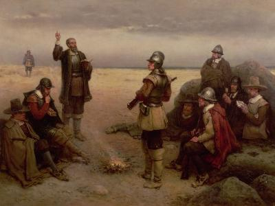The Landing of the Pilgrim Fathers, 1620-George Henry Boughton-Giclee Print