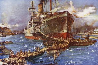 The Landing of Troops from the River Clyde at V Beach, Gallipoli Peninsula, Turkey, 25 April 1915-Charles Edward Dixon-Giclee Print