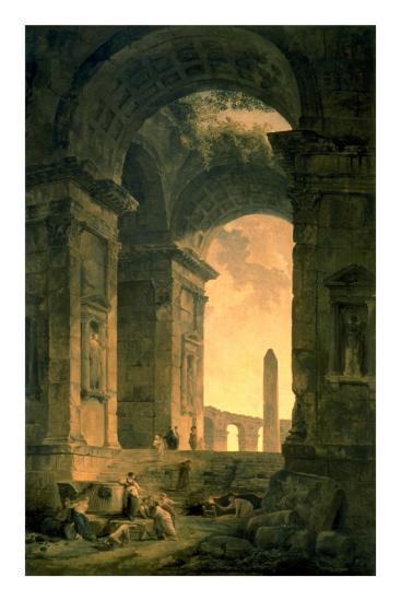 The Landscape with Obelisk-Hubert Robert-Art Print