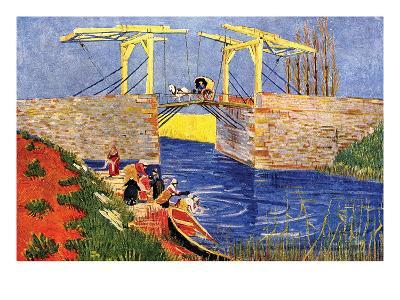 The Langlois Bridge at Arles with Women Washing-Vincent van Gogh-Art Print