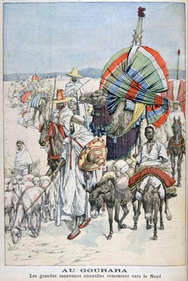 The Large Annual Caravans Heading North, Gourara, Algeria, 1903--Giclee Print