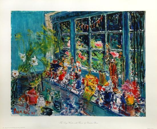 The Large Window With Flowers-Dimitrie Berea-Art Print