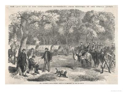 The Last Days of the Confederacy: Jefferson Davis Signs Acts of Government by the Roadside--Giclee Print
